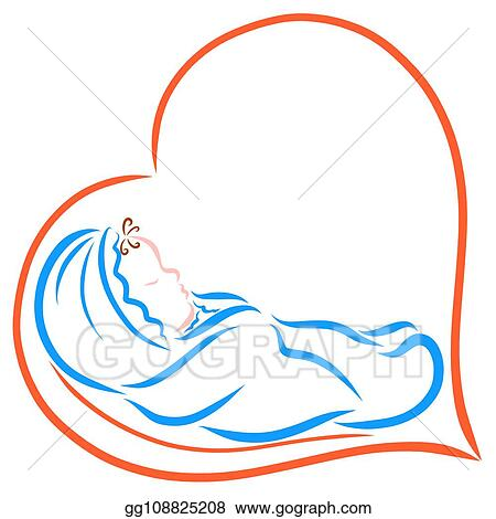baby wrapped in a blue diaper sleeping in the heart