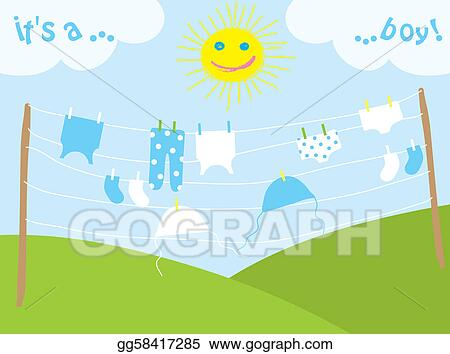 Drying clothes. A vector illustration of clothes drying outdoor.