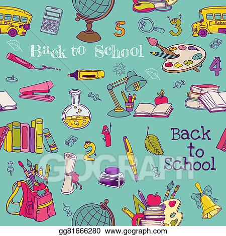 Drawing Back To School Seamless Background For Design Texture