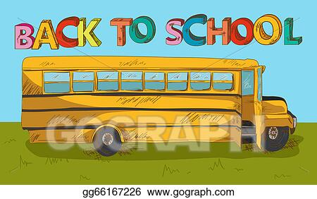 Vector Art Back To School Text Colorful School Bus Cartoon