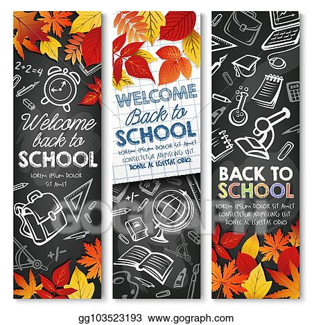 Vector Art Back To School Vector Autumn Education Banners Clipart Drawing Gg103523193 Gograph