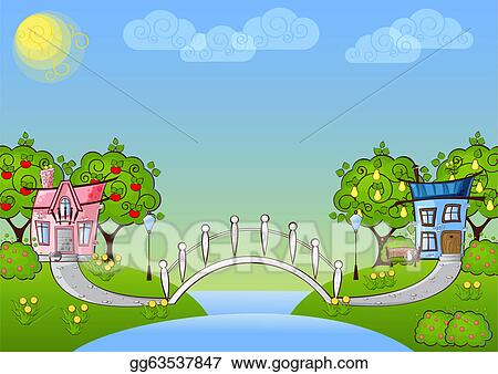 Vector Art Background Cartoon House Clipart Drawing