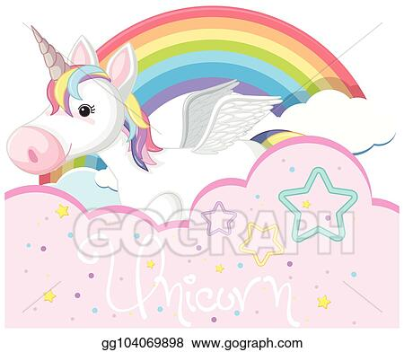 Eps Vector Background Design With Cute Unicorn And Rainbow Stock