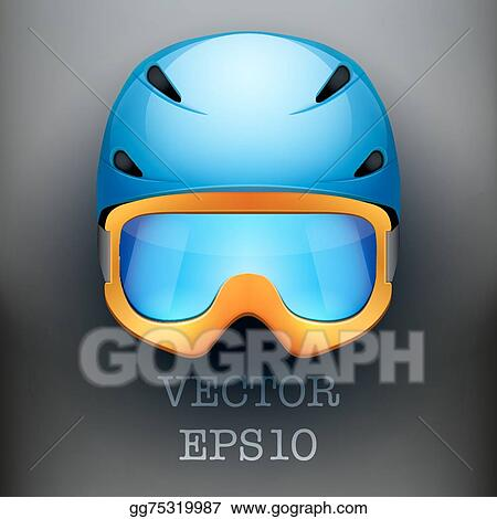 fd5b03f71d0 Background of Classic Ski helmet and orange snowboard goggles. Vector  isolated on white background