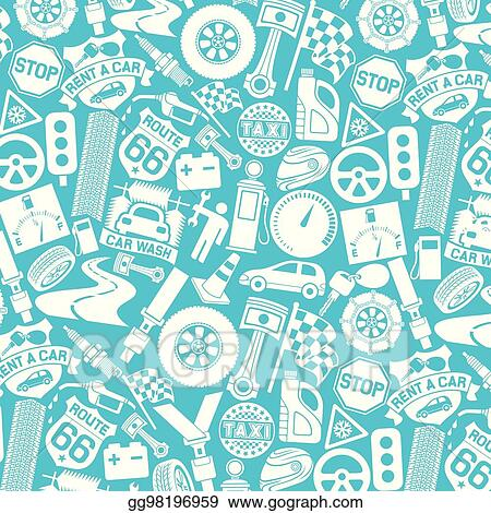 eps illustration background pattern with car icons auto and