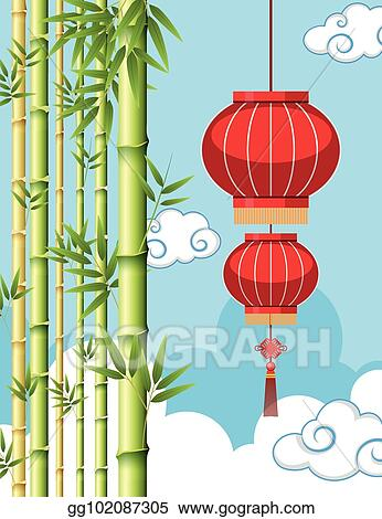 Background Template With Chinese Lantern And Bamboo