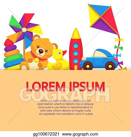 Vector Stock Background With Colorful Cartoon Kids Toys Clipart