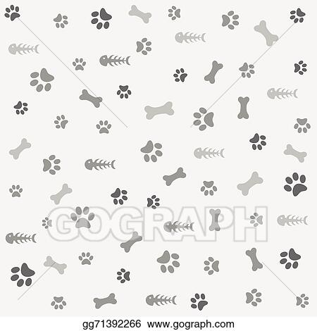 e818e00495a9 EPS Vector - Background with dog paw print, bone. Stock Clipart ...