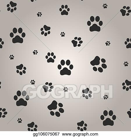 Vector Art Background With Dog Paw Print Vector Illustration