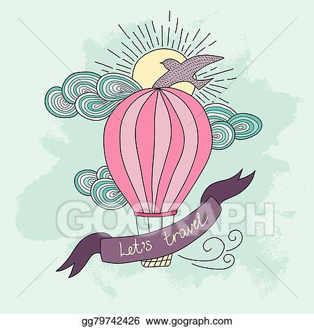 Vector Illustration Background With Hot Air Balloon And