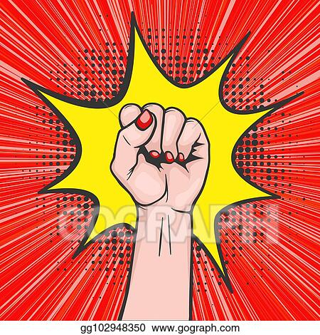 Vector Clipart - Background with raised women s fist in pop