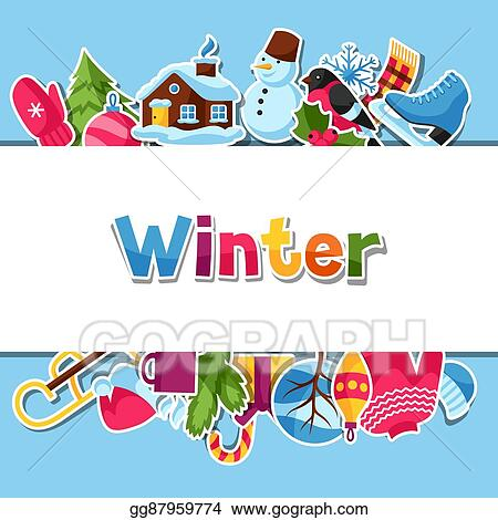 background with winter stickers merry christmas happy new year holiday items and symbols