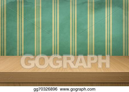 Clipart Background With Wooden Table And Old Wallpaper Stripes