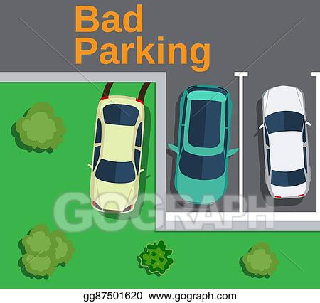 Vector Stock - Bad parking  top view of a car parked on the lawn