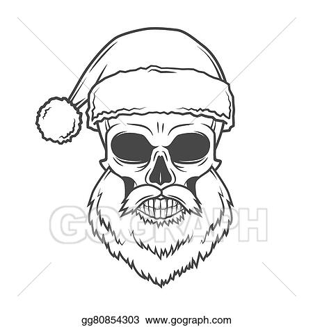 Heavy Metal Christmas.Vector Illustration Bad Santa Claus Biker Poster Heavy