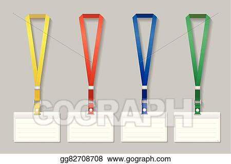 Vector Stock - Badge template, name bag holder with lanyard set ...