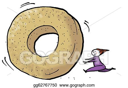 stock illustration bagel rolling clipart drawing gg62767750 gograph rh gograph com bagel clipart free funny bagel clipart