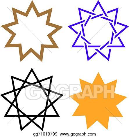 Vector Art Bahai Star Clipart Drawing Gg71019799 Gograph