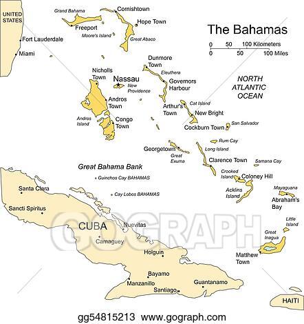 Vector Art Bahamas islands major cities and capital Clipart