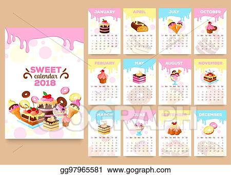 Vector Illustration Bakery Desserts Vector Calendar 2018 Template