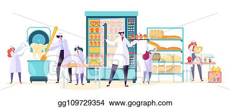 Vector Stock - Bakery factory food production character