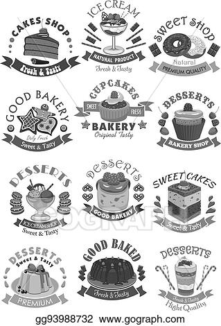 Eps Illustration Bakery Shop Pastry And Desserts Vector Icons