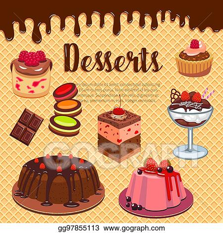 Vector Art Bakery Shop Pastry Desserts Vector Wafer Poster