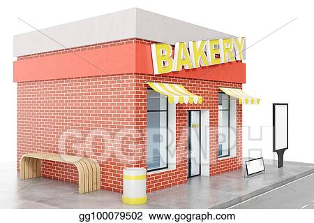 Stock Illustration - Bakery store with copy space board