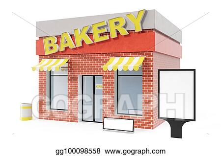 Stock Illustration - Bakery store with copy space board isolated on