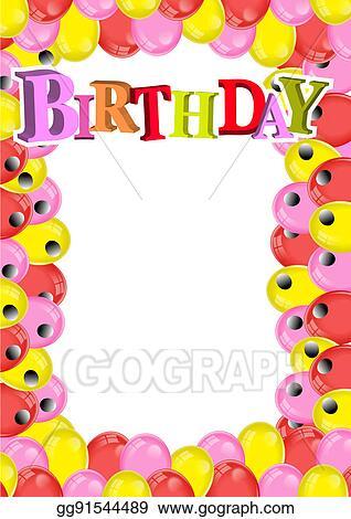 Stock Illustration - Balloon birthday frame. Clipart gg91544489 ...
