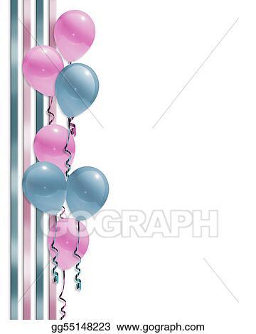 Stock Illustration Balloons Border Baby Shower Clipart