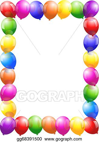 Vector Art Balloons Frame Portrait Format Clipart Drawing