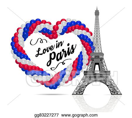 balloons in the shape of a heart with eiffel tower
