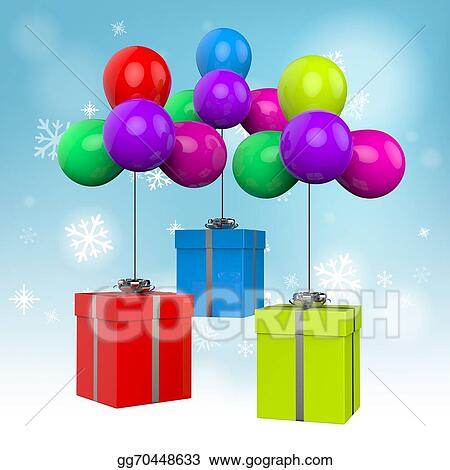 Balloons With Presents Meaning Birthday Or Colourful Party