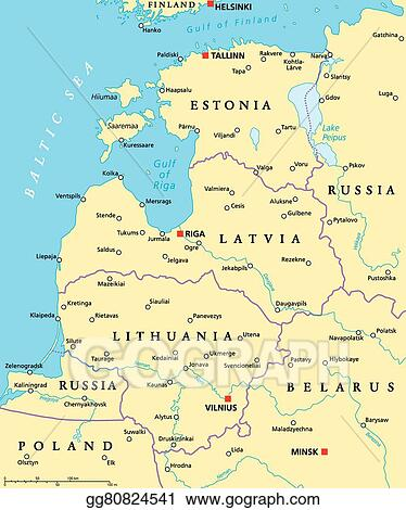 Vector Illustration - Baltic countries political map. EPS Clipart ...