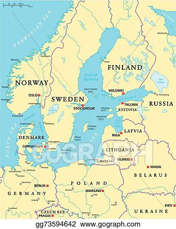 Vector Clipart Baltic sea area political map Vector Illustration