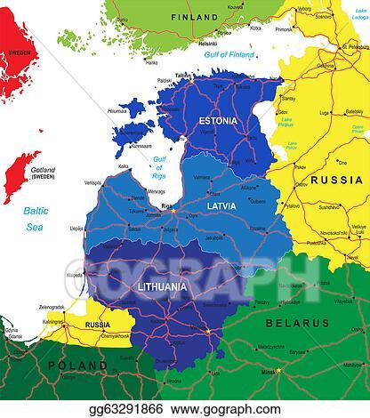 Clip Art Vector - Baltic states map. Stock EPS gg63291866 - GoGraph