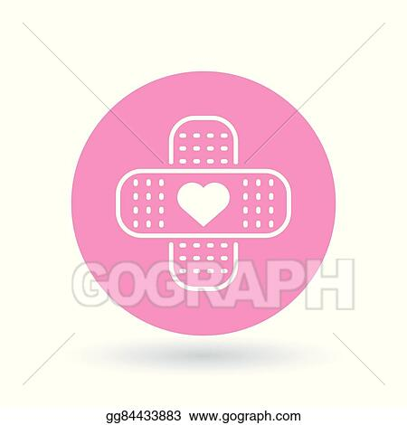 Vector Art Band Aid Plaster Heart Icon Bandage Plaster Love Sign