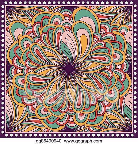 f421e09b1 Bandana print with fantasy flower. Square pattern design for pillow, carpet,  rug. Design for silk neck scarf, kerchief, hanky
