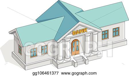 Retro Bank Design.Vector Illustration Bank Building Retro Vintage Architecture