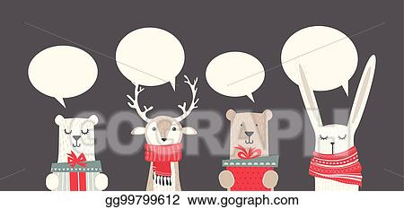 vector illustration banner with cute winter animals with presents and scarfs merry christmas and happy new year stock clip art gg99799612 gograph https www gograph com clipart license summary gg99799612