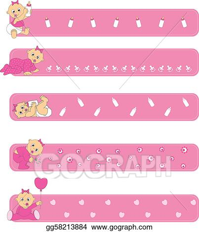 Eps Illustration Banners Baby Girl Vector Clipart Gg58213884 Gograph
