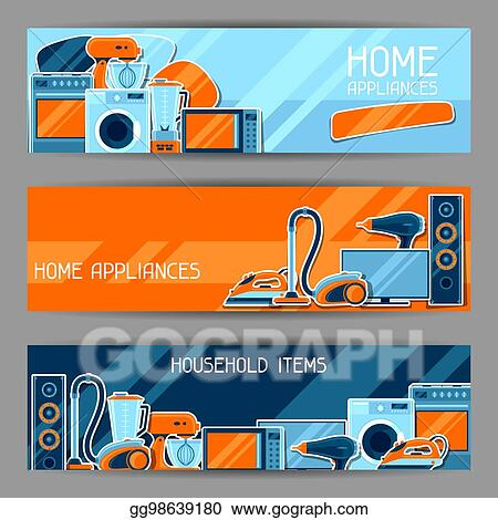 Vector Illustration Banners With Home Appliances Household Items