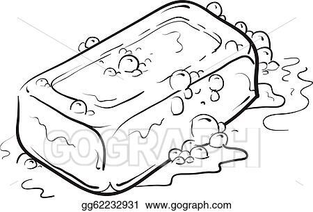 vector illustration bar of soap sketch eps clipart gg62232931 rh gograph com Hair Brush Clip Art bar of soap clip art