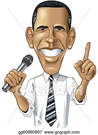 stock illustration barack obama caricature clipart gg60960897 rh gograph com obama cartoon clip art president obama clip art free
