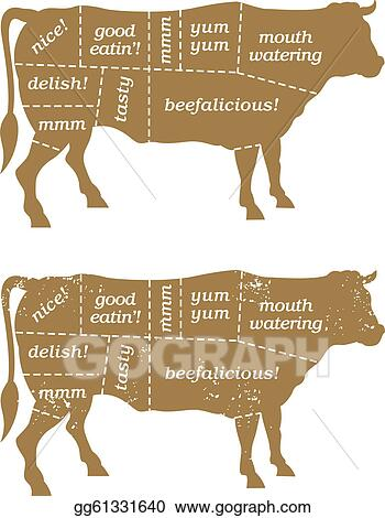 Vector Art Barbecue Beef Cuts Diagram Clipart Drawing Gg61331640