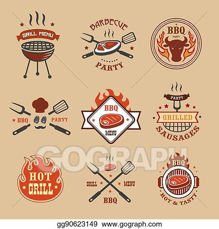 Vector Clipart Barbecue Grill Labels Badges Bbq Logos
