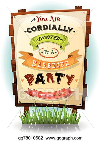 Eps Vector Barbecue Party Invitation On Wood Sign Stock Clipart