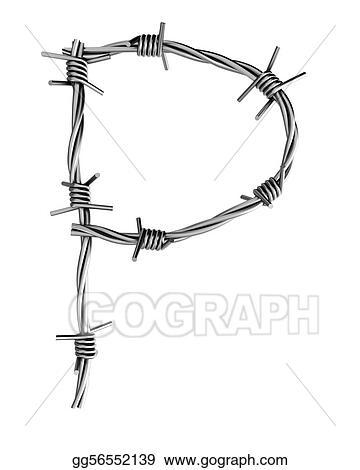 Clip Art - Barbed wire alphabet, p. Stock Illustration gg56552139 ...