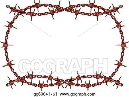 Vector Illustration - Barbed wire frame vector. Stock Clip Art ...